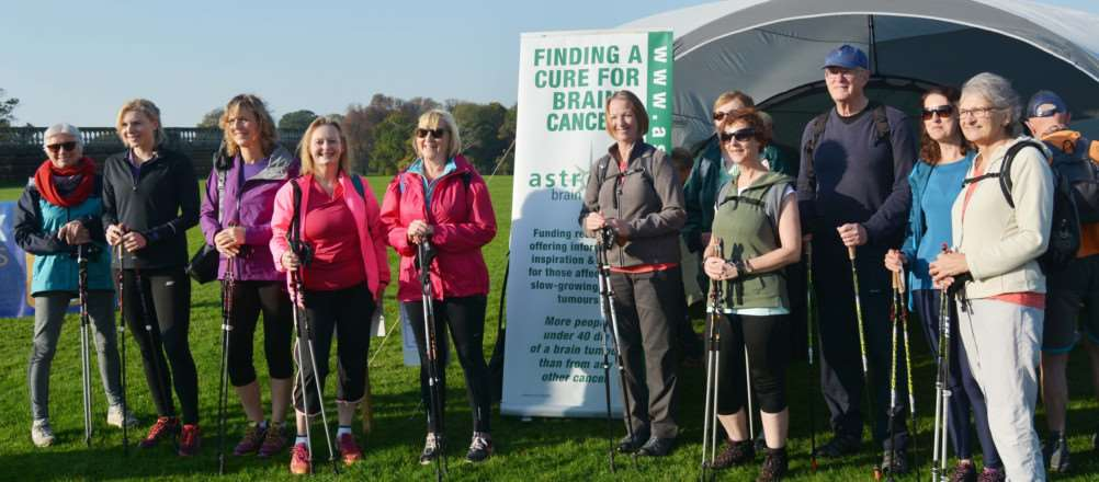 Astro Brain Tumour Walk at Holkham Hall'A Nordic group, from Norwich, prepare to set off