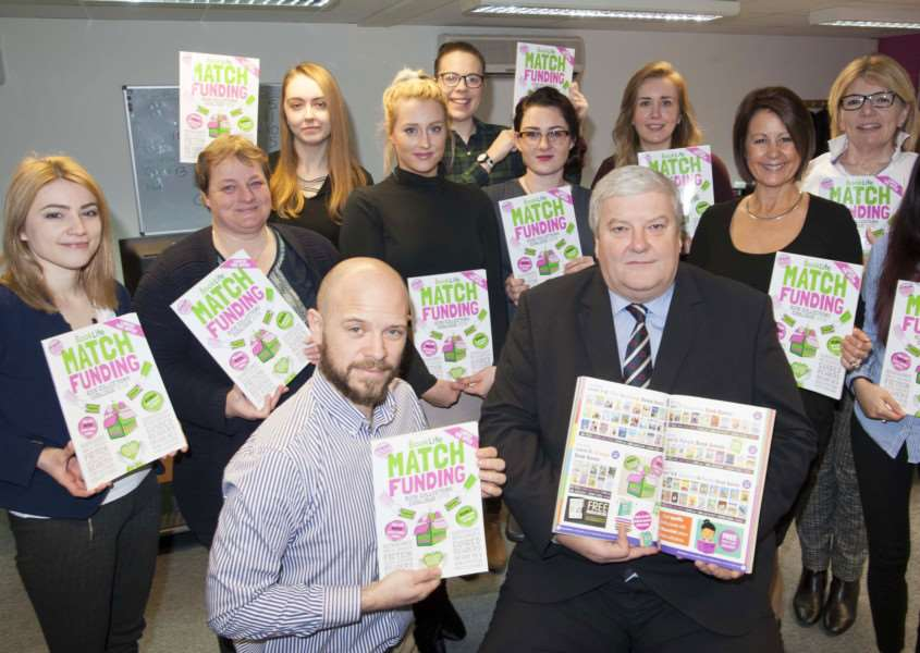 Book Life. Match Funding Scheme. Pictured Front Right Nick Ison with his Staff Book Life.
