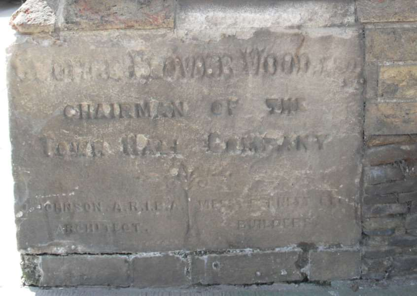 Downham Market Town Hall foundation stone from 1887. Photo: SUBMITTED.