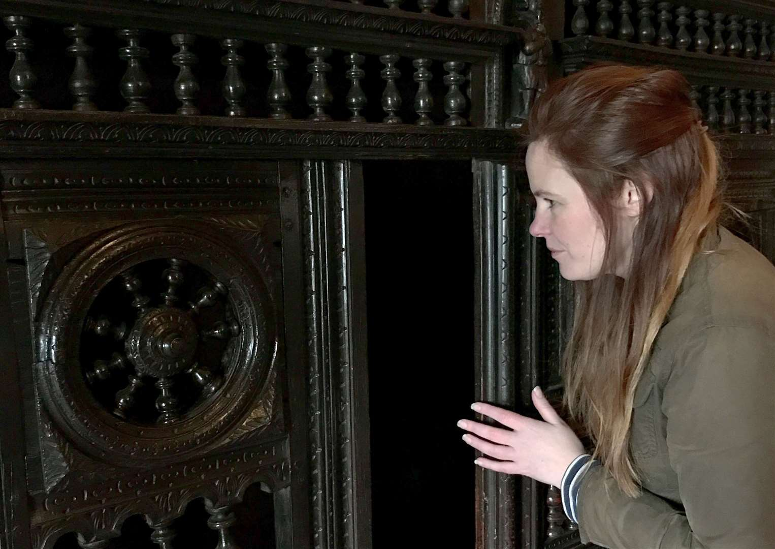 Lynsey Coombs, Property Curator taking a look inside the armoire (credit) National Trust Victoria McKeown (43376309)
