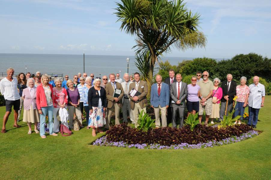 Britain in Bloom officials with Hunstanton group members and volunteers during a judging visit in 2014