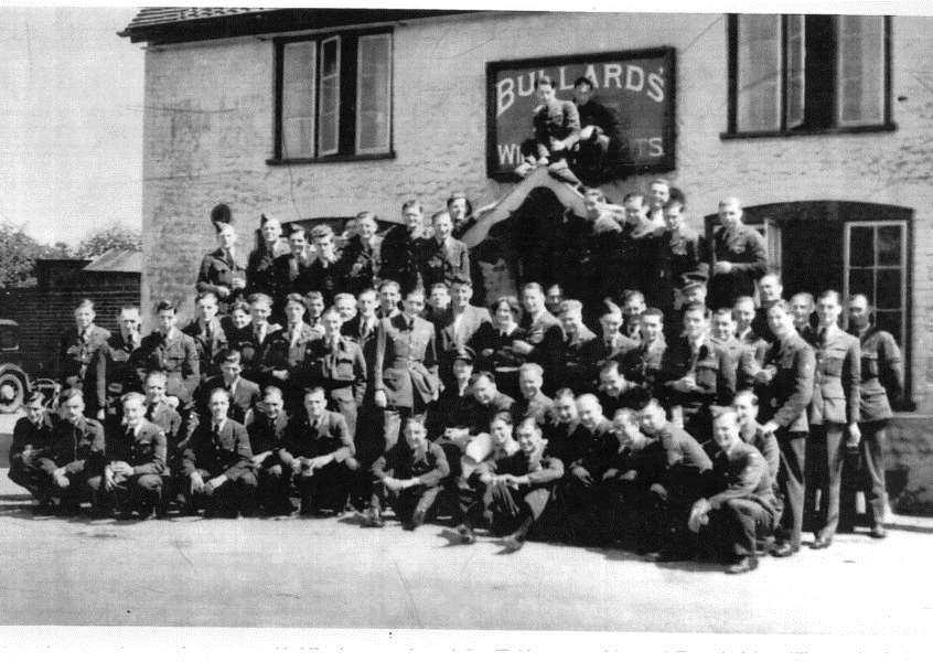 "No. 107 Sqn personnel outside the former Fox and Pheasant pub, Great Massingham, during the summer of 1941, as pictured in Aviation Landmarks Norfolk and Suffolk by Peter B. Gunn. Mr Gunn said: ""The squadron was equipped with Blenheim IV light bombers and suffered very heavy losses attacking targets in occupied Europe. Few were to survive the war. The former pub is now a private house."""