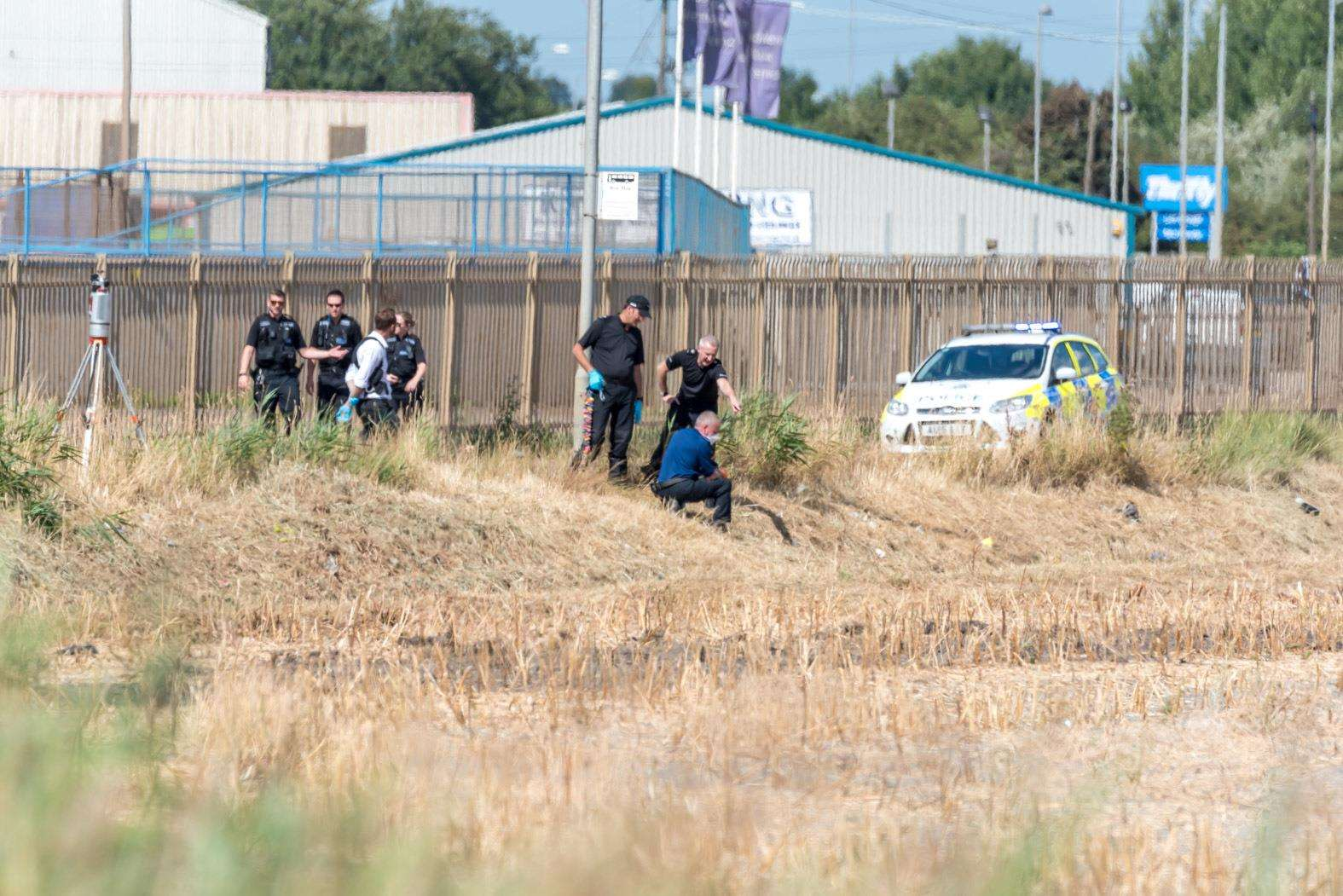 Police crime scene investigations underway after a body is discovered in a ditch close to the Police Investigation Centre at Saddlebow. (3253309)