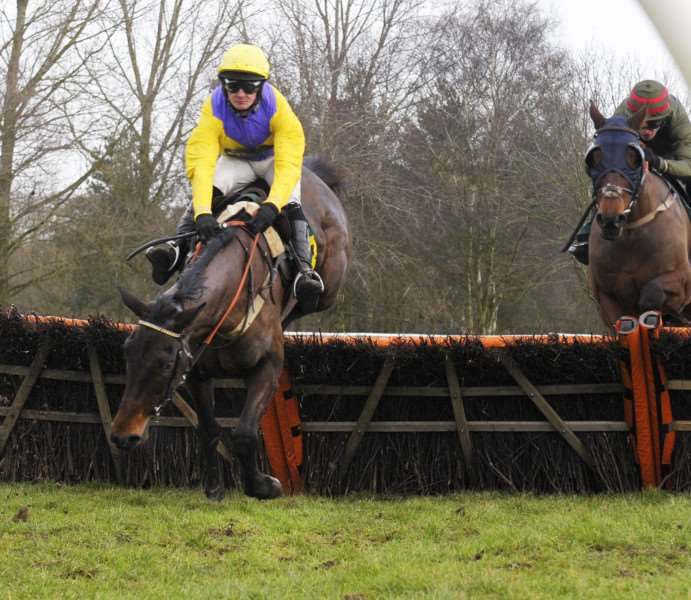Fakenham Racecourse New Year's Day Meeting 1st Jan 2018'3rd Race faller Jack Quinlan who was riding No 3 Mariah's Legend