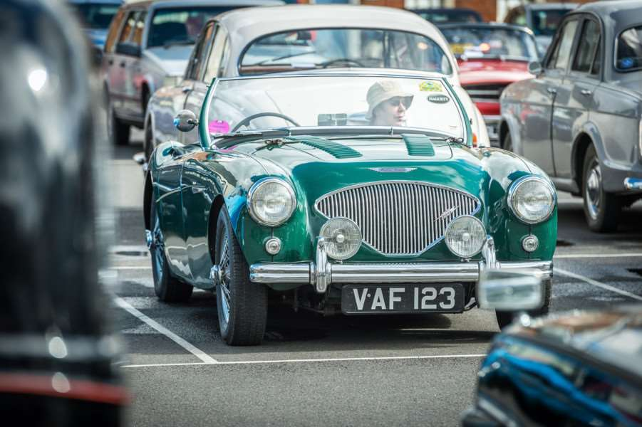 Drivers met on the Tuesday Market Place before leaving on the King's Lynn Classic Car Rally on Sunday Morning.