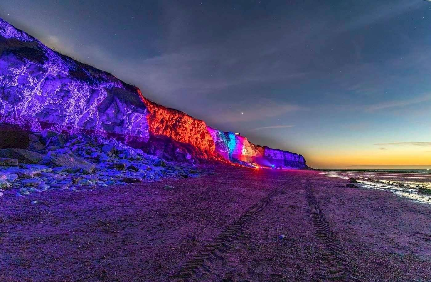 Jak Ropa lights up Hunstanton cliffs on Christmas Eve. Picture: IAN WARD (43728810)