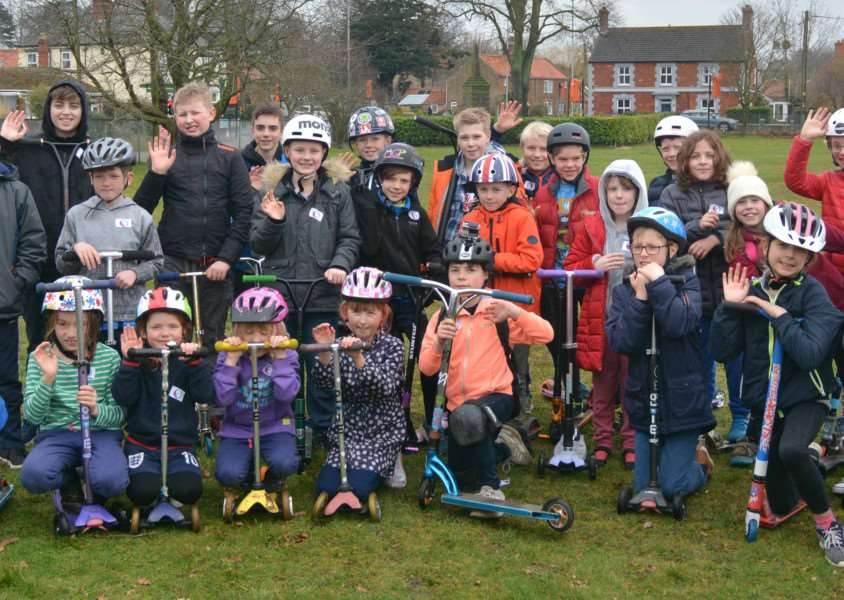 Dersingham Skatepark fundraiser'Youngsters prepare to scoot round their village to raise money for a new skate park
