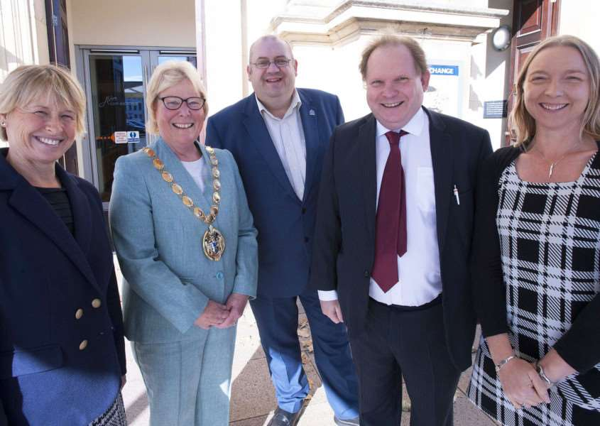 Launch Of the Mayors' Business Awards at King's Lynn Corn Exchange. Pictured FLtoR Alison Richardson (Brown & Co) King's Lynn Mayor Carol Bower. Brian Long (Leader Of West Norfolk Borough Council) Mark Leslie (Editor of The Lynn News) Sharon Edwards (Mapus.Smith.Lemon)