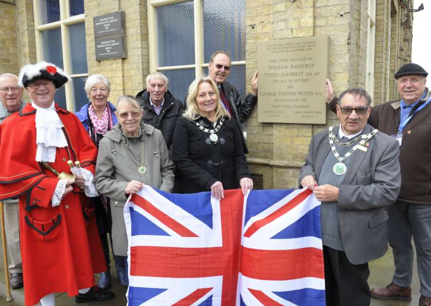 Unveiling of a new Downham Town Hall Foundation Stone at Downham Town Square.'LtoR, Cllr Tony Stacey, Town Crier Ray Wales, Cllr Marion Ross, Mayoress Heather Daymond, Cllr John Doyle, Deputy Mayor Cllr Yvonne Thompson, Cllr John Fox, Mayor Cllr Frank Daymond, Cllr David Sharman