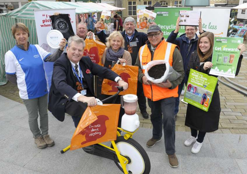 Downham Market food waste & recycling pop-up event (Sainsbury's Discovery Communities programme) on the town square.'Some of the groups involved LtoR, Anne Hitch (RECOUP), KL&WNBC Councillor Ian Devereux (Cabinet Member for Environment), Tony Smith (Salvation Army), Paula Boyce (Norfolk Waste Partnership), Jack Daniels (KL&WNBC), David Kilham (Greenworld), Ian Roe (Norfolk County Council), Katie Zaffino (West Norfolk Recycling Rewards)