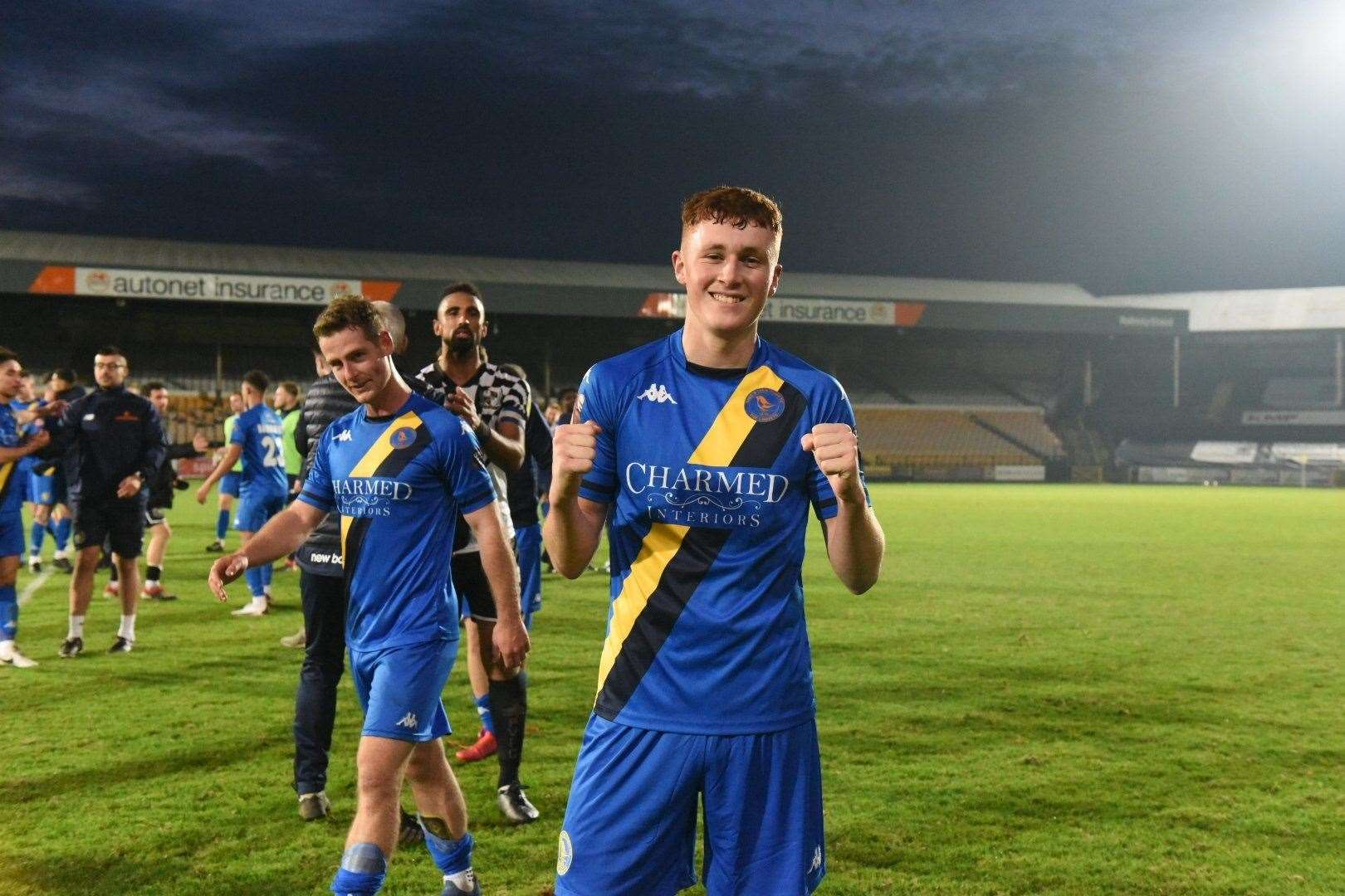 Matchwinner Sonny Carey after his winning goal against Port Vale. Picture: Tim Smith. (43028483)
