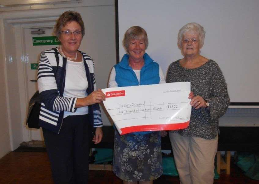 Members of Greenfingers' Gardening Club of Grimston and District presenting cheque to Little Discoverers. Pictured from left, are Helen Lilley, Katie Greatorex and Jenny Haywood. Photo: SUBMITTED.