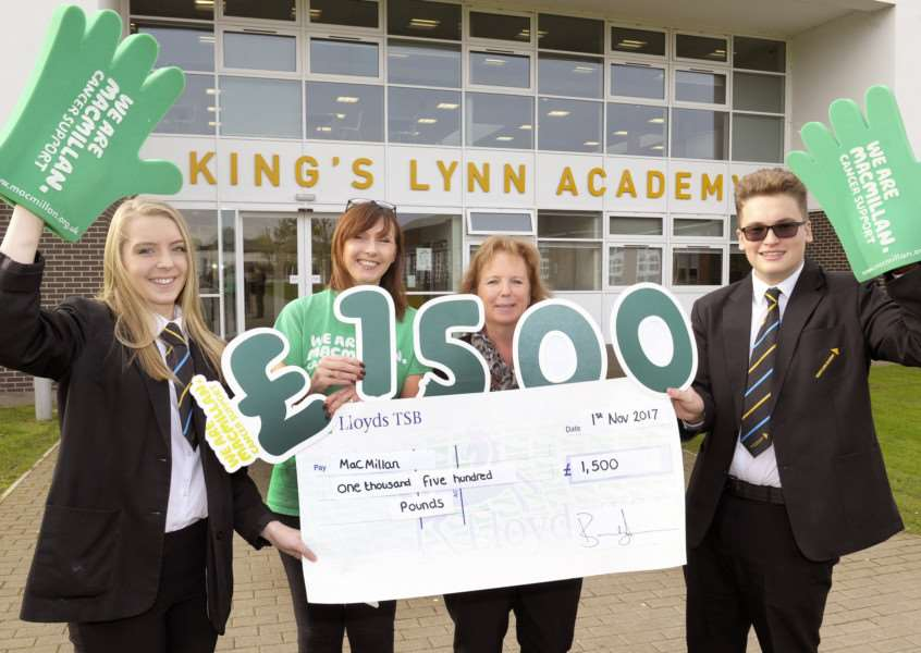 KLA presenting cheque for �1,500 to Macmillan after Coffee Morning. 'LtoR, Maisie Hancock (Head Girl), Nicola Clark (Macmillan Fundraising Manager for West Norfolk and West Suffolk), Mandy Thomas (Organiser of the Coffee Morning for the past 5 years), Lewis Dixon Head Boy).