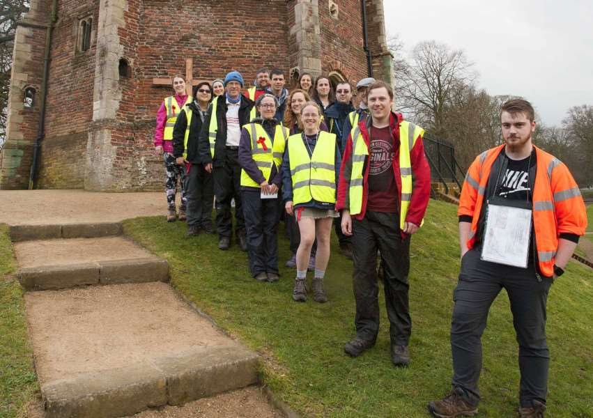 Pilgrimage Walk Group stop off at King's Lynn Lady of The Mount (Red Mount) Pictured From Leicestershire Student Cross Midland Leg at the Walks in King's Lynn.