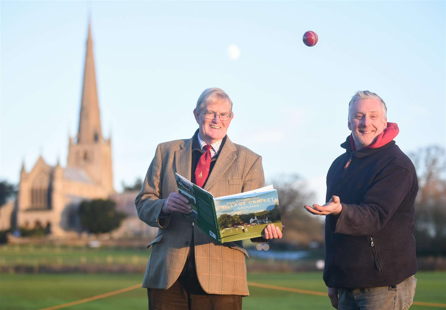 Snettisham Cricket Club has been included in a book called 'Remarkable Village Cricket Grounds'. Pictured are (L) Snettisham CC President Edward Stanton and Chairman Tim Clarey.