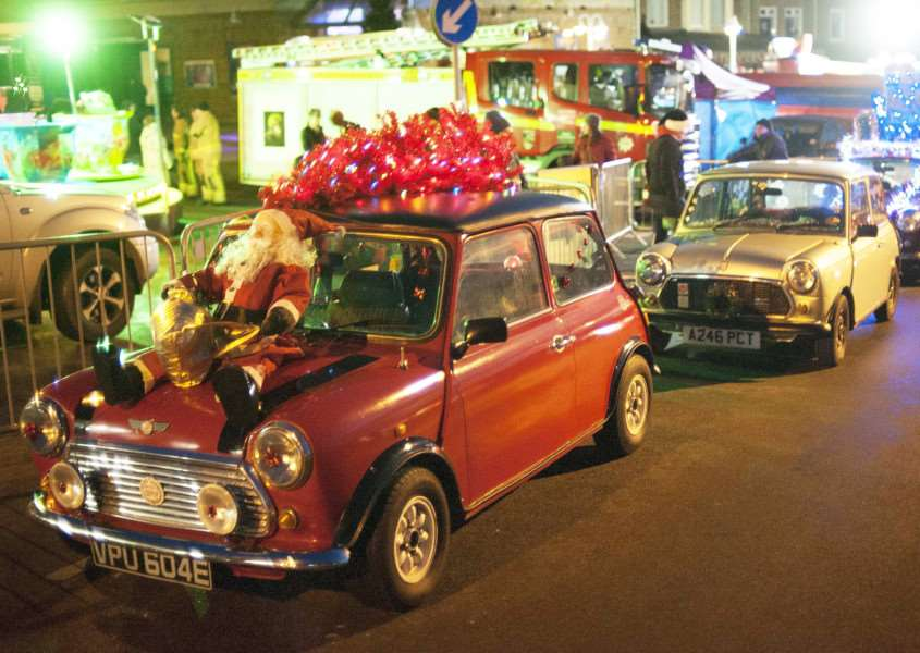Christmas Lights Switch On at Hunstanton. Pictured Classic Mini Cars.
