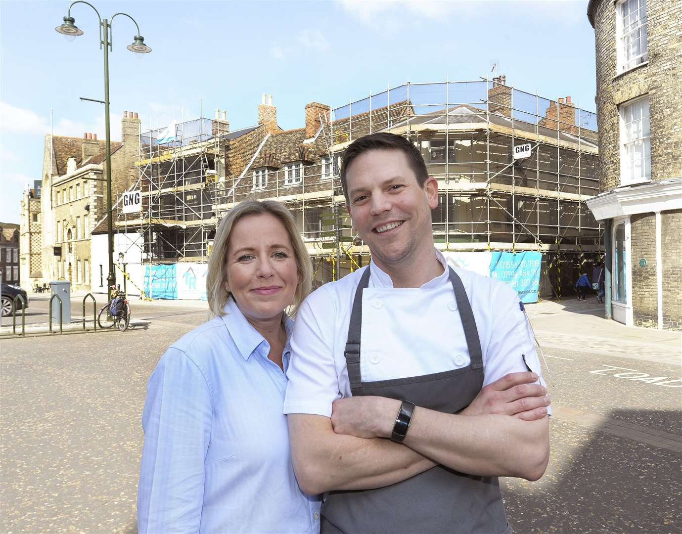 Lucy and Richard Golding pictured in 2017 outside Goldings while renovation was under way. (9940940)