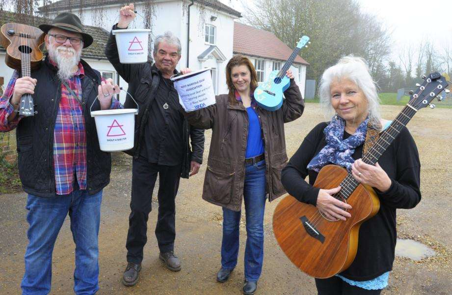 Some of the Musicians taking part in the Shout 4 Shelter event which is being held the Village Hall at Bradenham''LtoR, Bob Bones, Tom Ryan, Yvette Mary Barwood, Julie Bones infront of the venue.