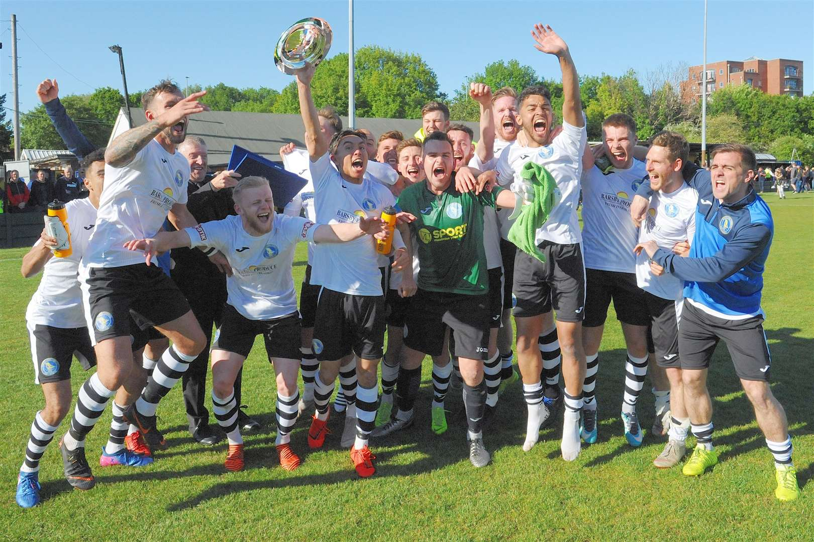 King's Lynn Town FC players after their brilliant Super Play-Off triumph away at Warrington Town on Saturday (10189531)