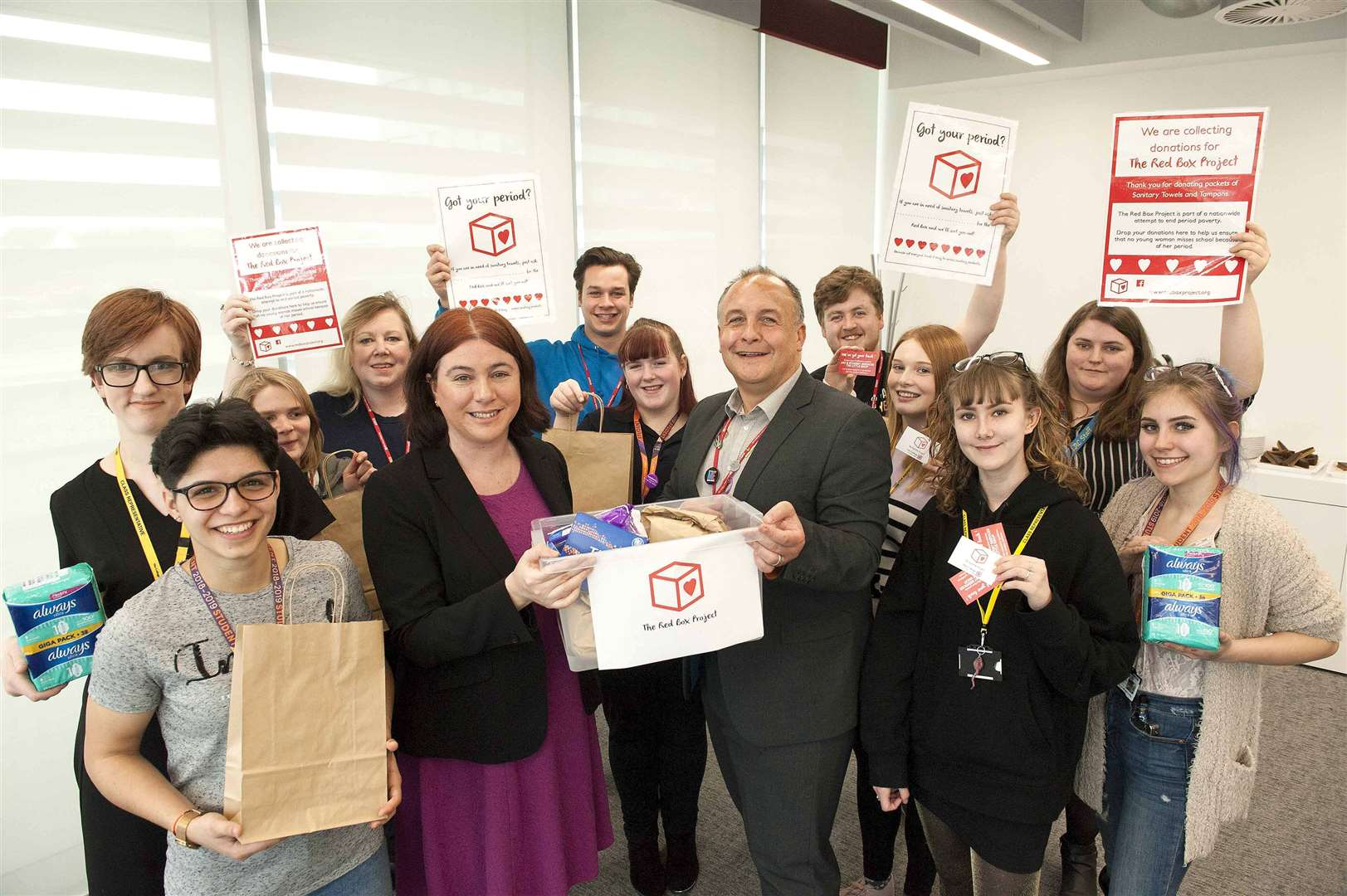 Alex Meyer MEP supporting Red Box Project against Period Poverty at The College of West Anglia. Pictured in centre Left Alex Meyer MEP. with Andrew Gedge Assistant Pricipal CWA with Students and Staff.. (7660073)
