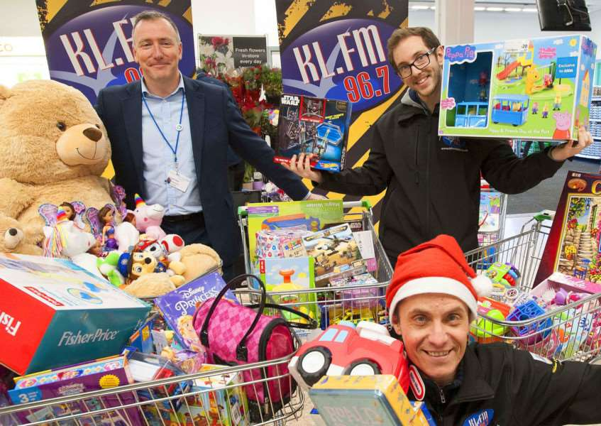 Toy Appeal from KLFM at Asda Store King's Lynn. Pictured FLtoR Jon Green (Chief Executive QEH King's Lynn. Chris Craddock (KLFM) Simon Rowe KLFM.