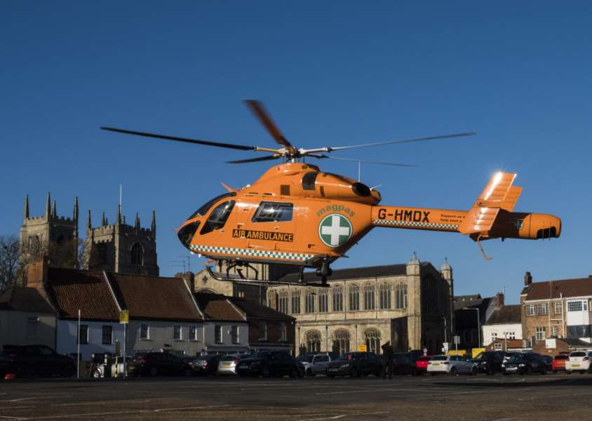 MAGPAS Air Ambulance, which landed at Chapel Street car park in King's Lynn. Photo: Jeremy Rodwell. Photo: SUBMITTED.