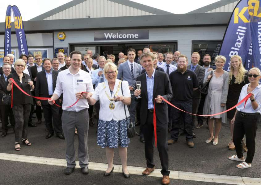 Official Opening of Kent Blaxill and Co Ltd by Borough Mayor Carol Bower.'At the opening ceremony LtoR, James Livick-Smith (Manager), Borough Mayor Carol Bower, Simon Blaxill (MD),