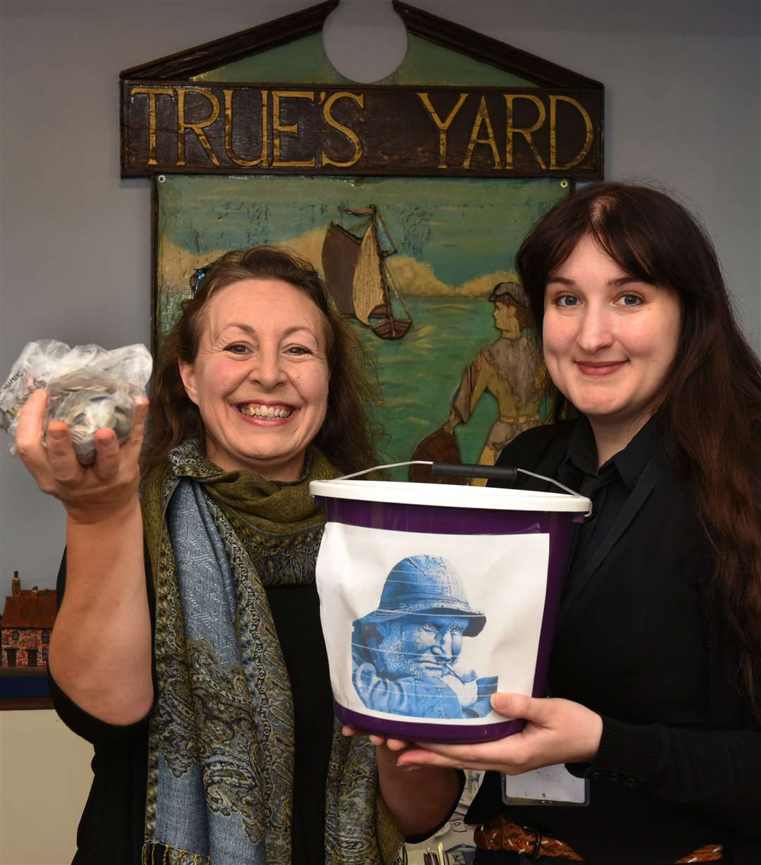 Presentation at True's Yard, by Noise & Chance Dance School's Trina Lee of a bucket with £426.87 which was collected at the Kipper Feet event in King's Lynn...LtoR, Trina Lee presenting the Cash to True's Yard Fisherfolk Museum Manager Lindsey Bavin. (18488718)