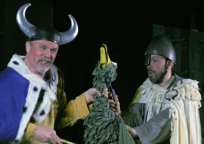 Downham Market Arts Present The Sagas of Noggin The Nog at the Town Hall'The Vikings Cast members in action during the performance.