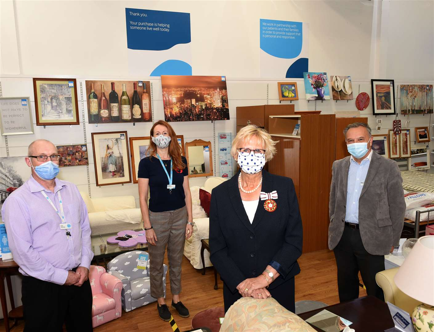 The Deputy Lord Lieutenant of Norfolk, Melinda Raker, visiting the Sue Ryder Shop at Unit 1 St Nicholas Retail Park King's Lynn on Wednesday 26th August. Pictured are David Wheelhouse, Jo Panks, deputy lieutenant of Norfolk, Melinda Raker and Glynn Taylor. Pictures: Paul Marsh