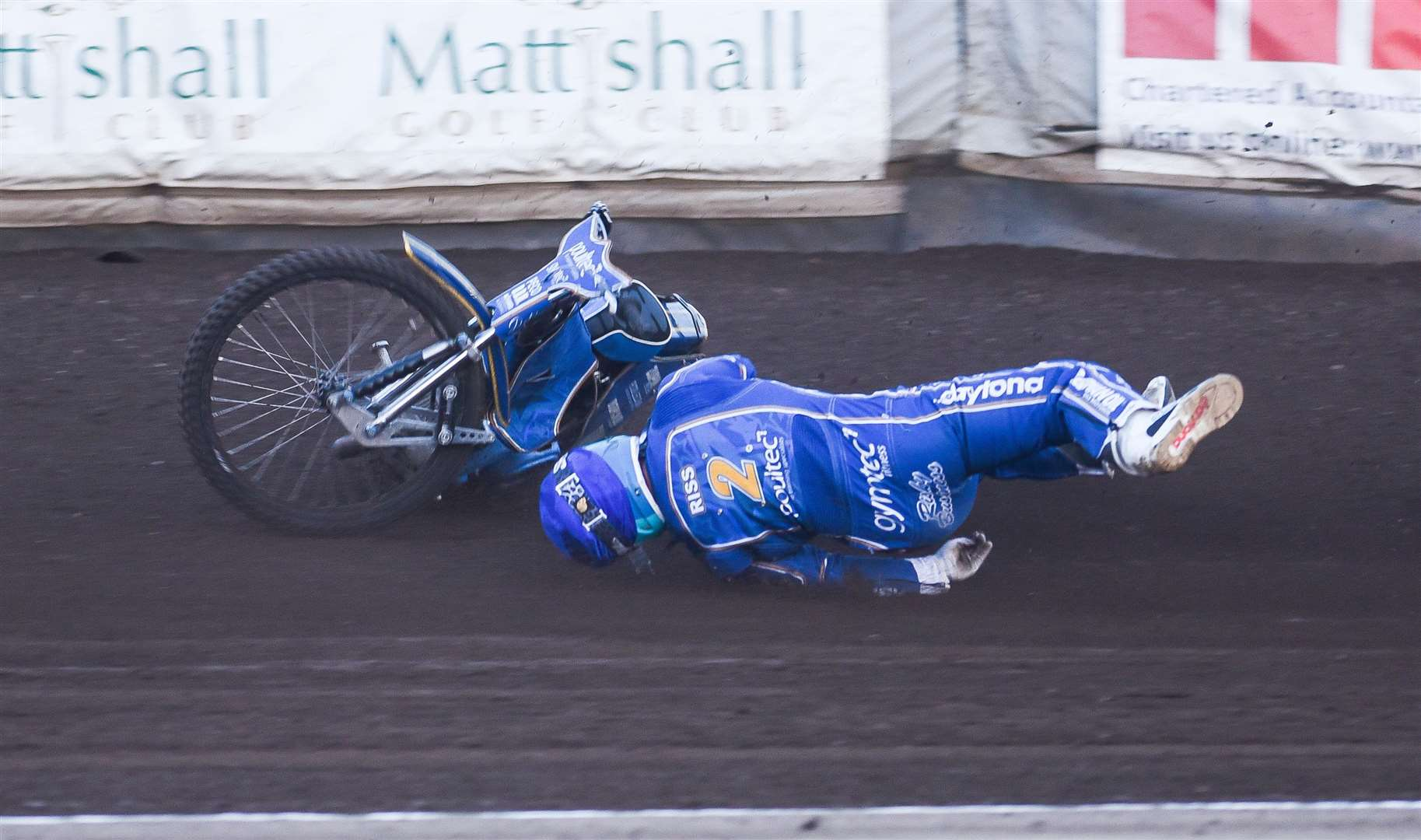 Lynn's Erik Riss after his crash in Heat 10 against the Poole Pirates. Picture: Ian Burt. (10791768)