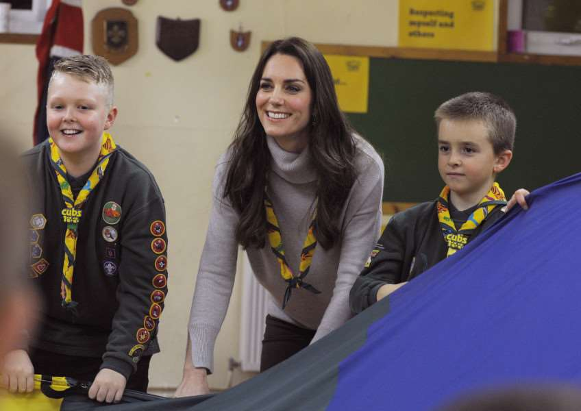 HRH The Duchess of Cambridge visiting a Special Cub Scout Pack Meeting with Cubs from the King's Lynn District to celebrate 100 years of Cubs, the event was held at the the HQ in North Wootton Village, near King's Lynn
