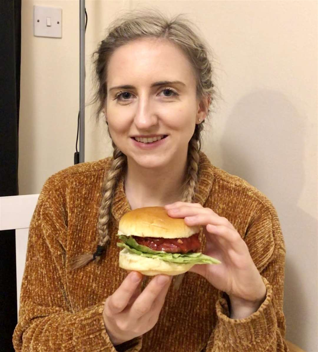 Veggie feature - reporter Rebekah Chilvers with a burger from M&S' Plant Kitchen range. (6355788)