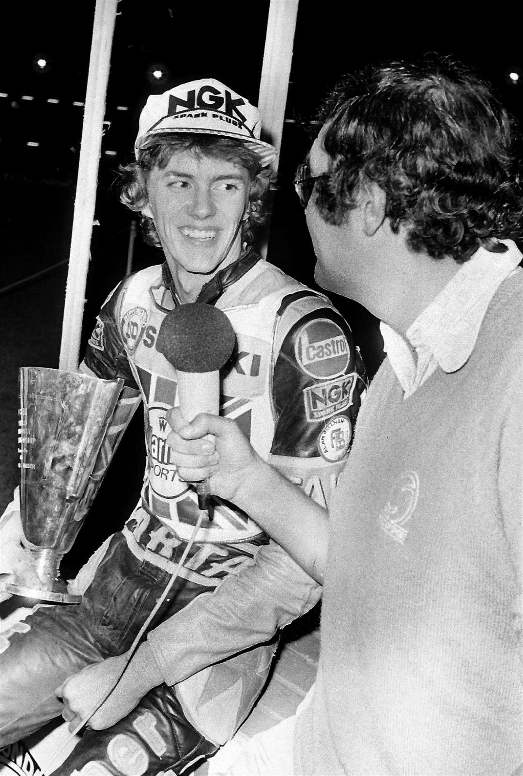 Mike on the mic: Michael Lee tells ITV's Dave Lanning how it feels to be the new speedway champion of the world. MNLF-WC615 (39283398)