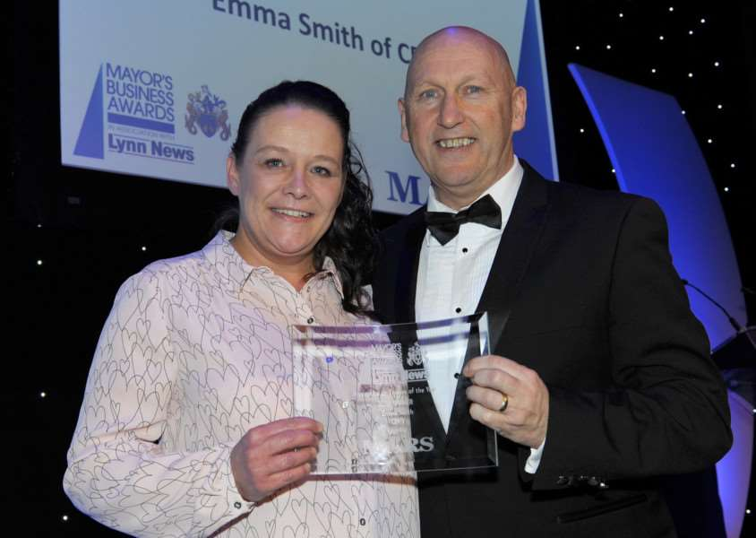 Winner of the Apprentice or Trainee of the Year award Emma Smith with Gary Piper from sponsor Mars UK