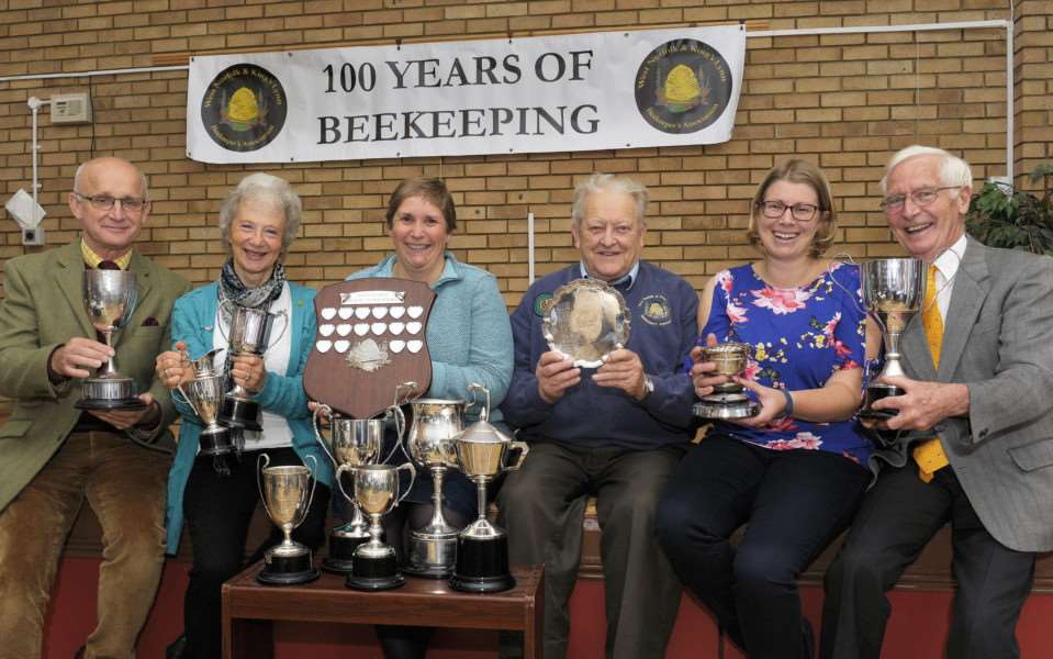 West Norfolk and King's Lynn Beekeepers Association 100 years Birthday.'Trophy winners LtoR, Kevin Winks, Venetia Rist, Jill Tinsey, Pieter Odendaal, Lucy North, Stuart Grant