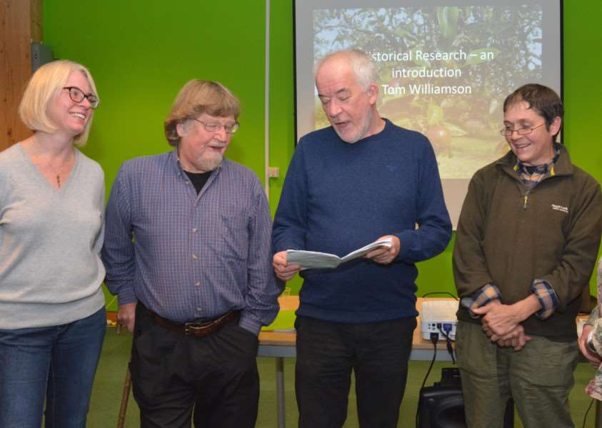 Orchards East Research Project launch'From left - Orchards East Research Project manager, Rachel Savage, chairman Paul Read, professor of landscape history Tom Williamson, apple enthusiast Bob Lever and Gen Broad, Orchards East survey co-ordinator, at the launch at the Green Britain Centre