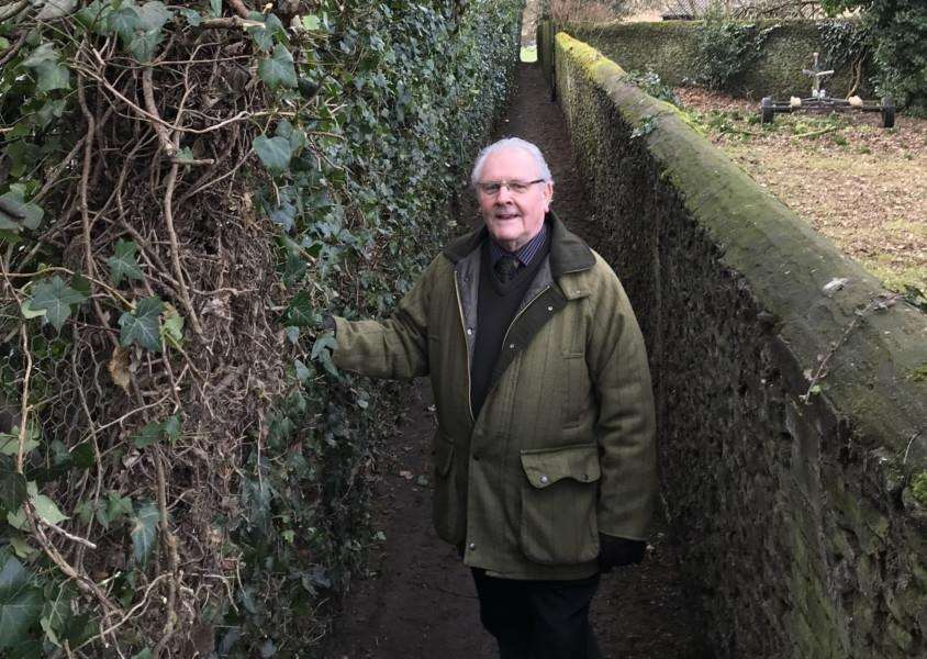 Downham Market Town Councillor Tony White inspects footpath to Howdale after hedgecutting, as part of the revitalisation of the public rights of way. Photo: SUBMITTED.