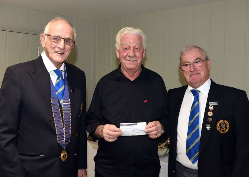 Kings Lynn Bowls Club cheque presentation �1,100 to Red Wellies''left to right Colin Sunter, Mervyn Wiles and Trevor Oakey