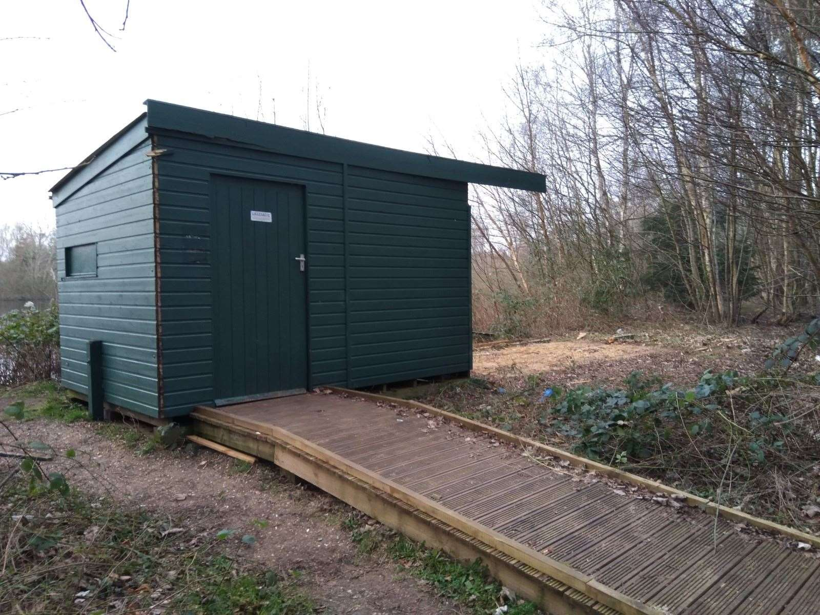 Parts of this bird hide at Lynford have been stolen (28826954)