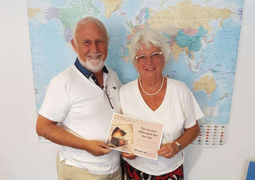 Winners of a Premier Travel prize Ruth Woolnough and her friend Geoffrey Palmer