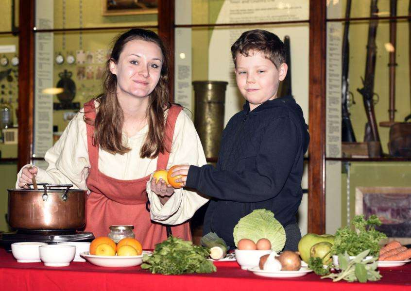 Medieval-themed day, Lynn Museum''left to right Sophie Broomfield and Oliver Fleckney 11