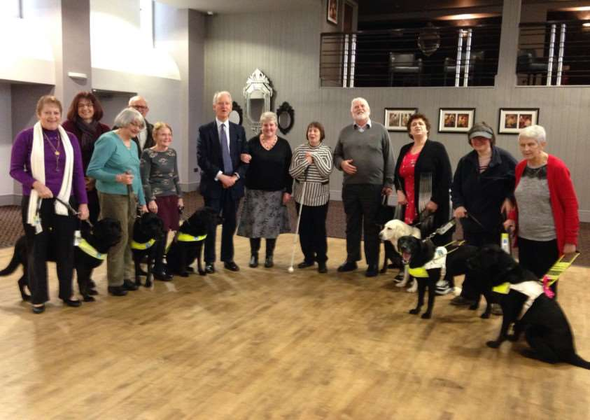 King's Lynn Guide Dogs Forum takes Sir Henry on a blindfolded walk through Lynn town centre