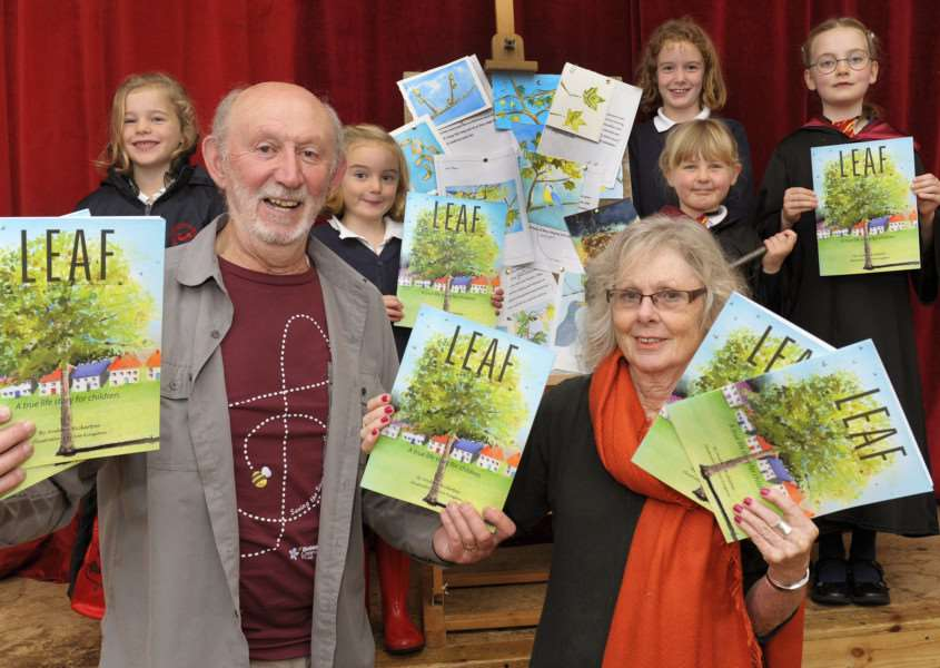 Book launch 'LEAF' at Great Massingham Village Hall 'Andrew Bickerton and Sue Kingston at the launch party, along with some young book readers.