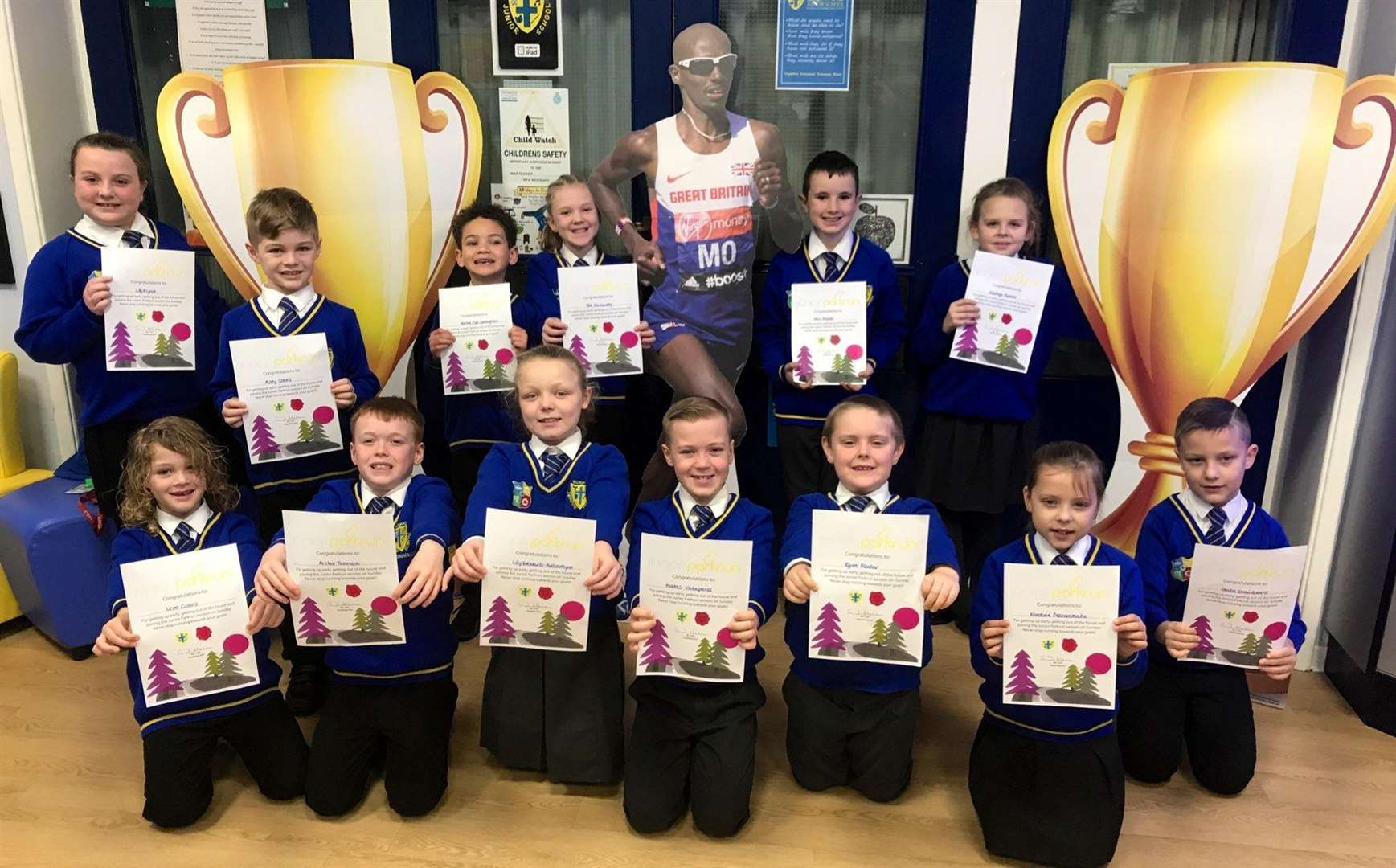 King's Lynn's Howard Junior School pupils are being rewarded for taking part in Junior parkrun. Picture: SUBMITTED. (6545952)
