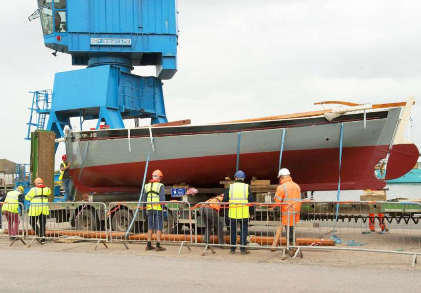 The Baden Powell at King's Lynn Docks Preparing for it's launch.
