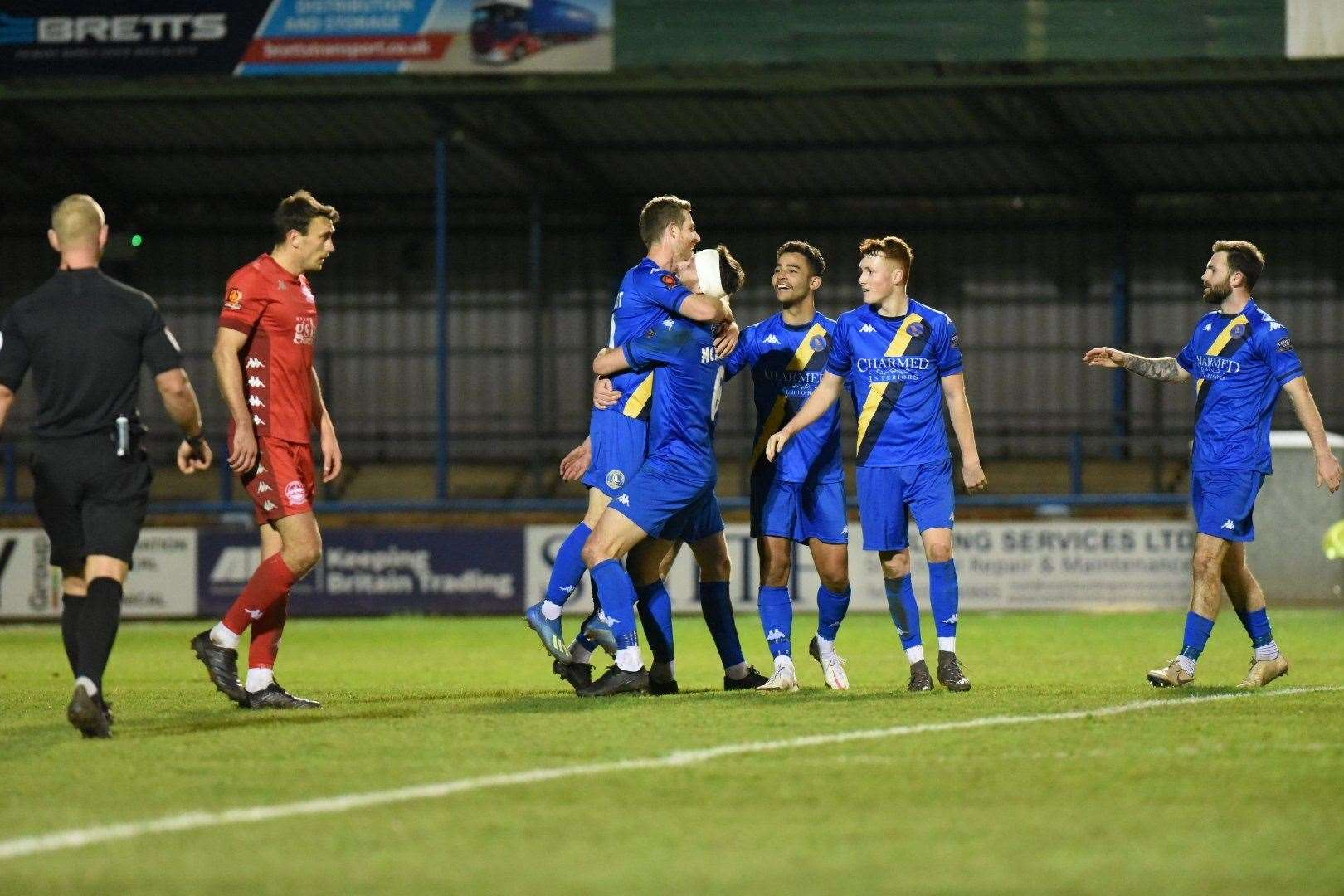 King's Lynn players celebrate Adam Marriott's penalty goal. Pictures: Tim Smith