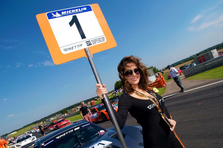 Snetterton, Norfolk. Motor Sport action from the BTCC at Snetterton - Michelin Ginetta GT Supercup and Ginetta Junior Championship Grid Girl Emily Jane Williams from Harleston