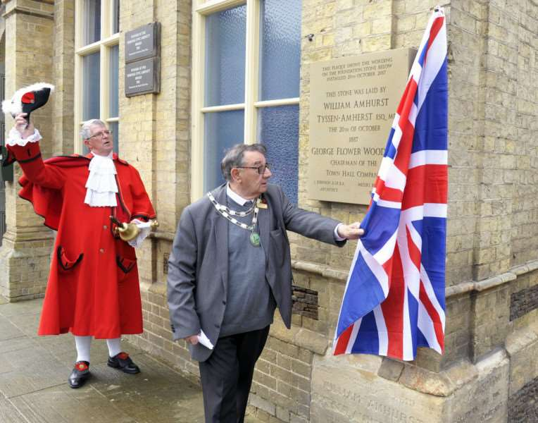 Unveiling of a new Downham Town Hall Foundation Stone at Downham Town Square.'Downham Market Town Mayor Cllr Frank Daymond unveiling the new stone, also in picture Town Crier Ray Wales