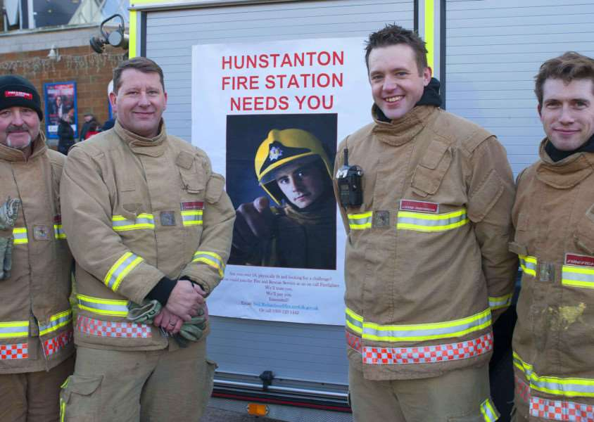 Christmas Lights Switch On at Hunstanton. Pictured supporting the event Hunstanton Fire Service. Pictured FLtoR Peter Greeves.David Celend.Will Guy. Craig Woolsey.